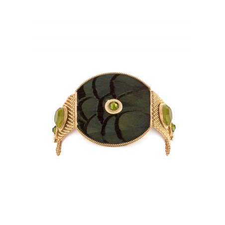 Fashionable feather crystal bracelet   Khaki84983