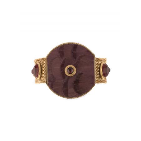 Chunky feather crystal bracelet | Mauve