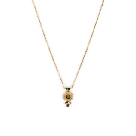 Collier pendentif féminin cristal et jade | Kaki