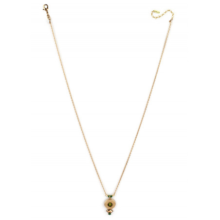 Collier pendentif féminin cristal et jade | Kaki84988
