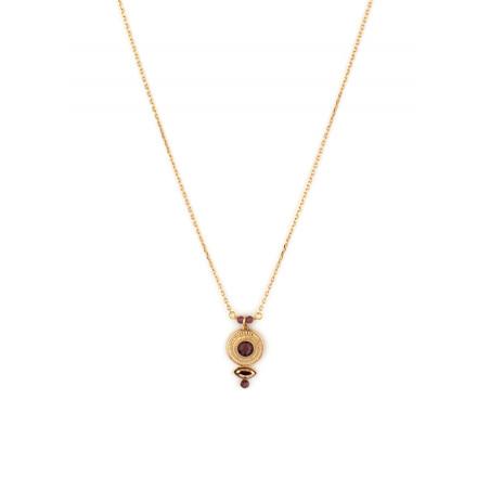 Elegant crystal and garnet pendant necklace Mauve