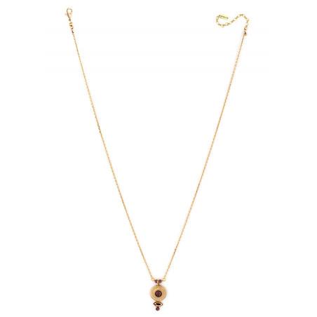 Elegant crystal and garnet pendant necklace Mauve84991