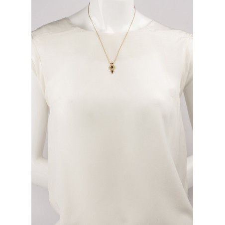 Elegant crystal and garnet pendant necklace Mauve84992