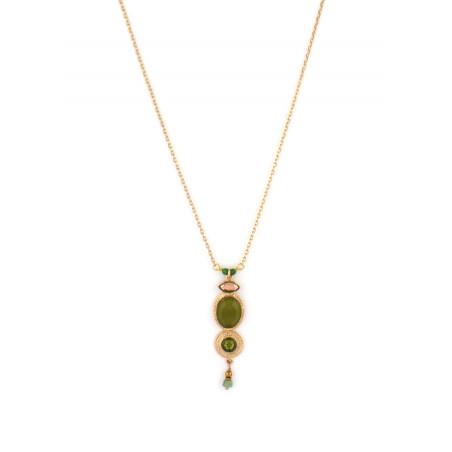 Collier pendentif bohème cristal et jade   Kaki