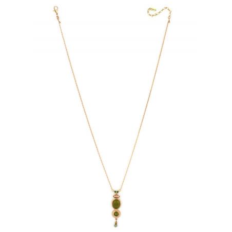Collier pendentif bohème cristal et jade   Kaki84994
