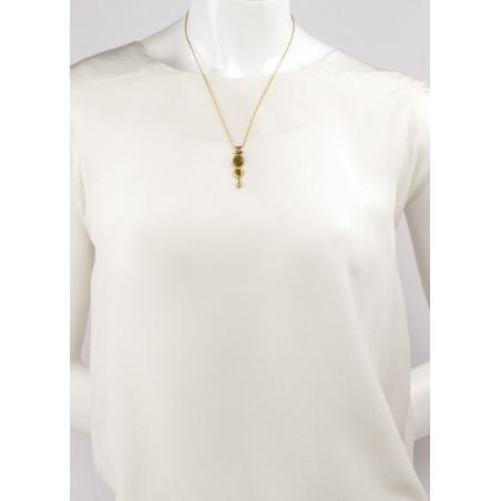 Collier pendentif bohème cristal et jade   Kaki84995