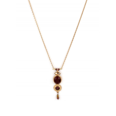 Refined crystal and garnet pendant necklace|Mauve