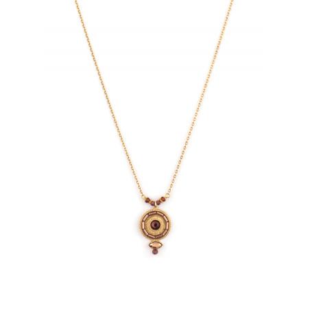 Collier pendentif glamour cristal et grenat | Mauve