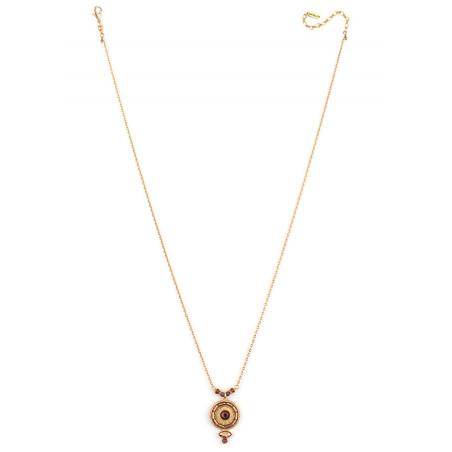 Collier pendentif glamour cristal et grenat | Mauve85000