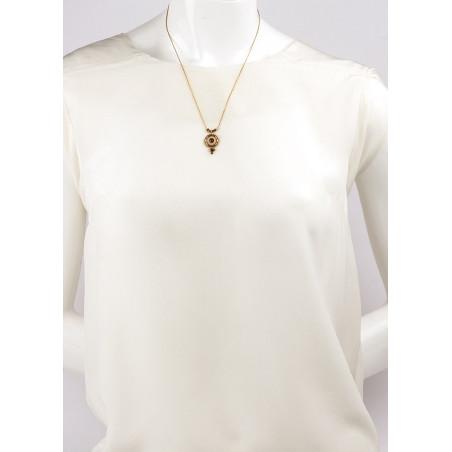 Collier pendentif glamour cristal et grenat | Mauve85001