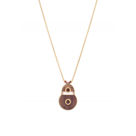 Bohemian feather and garnet mid-length necklace   Mauve
