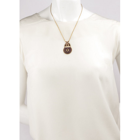 Bohemian feather and garnet mid-length necklace   Mauve85007