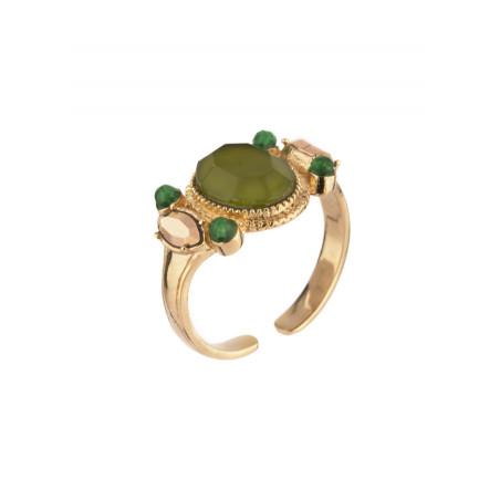 Bague féminine cristal et jade   Kaki