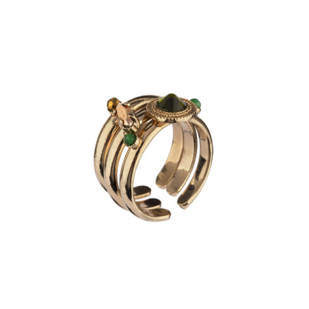 Bague multiple tendance cristal et jade | Kaki