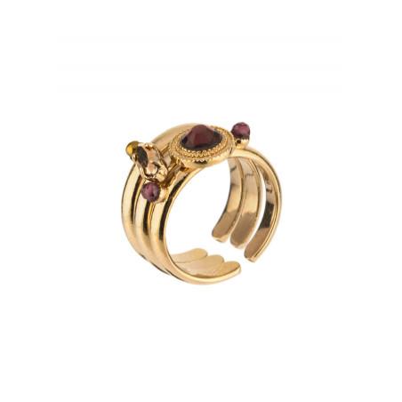 Elegant crystal and garnet multiple rings|Mauve