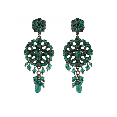 Boucles d'oreilles féminines en métal laqué et perles | Emeraude