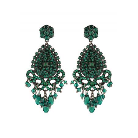 Boucles d'oreilles glamour en métal laqué et cristaux | Emeraude