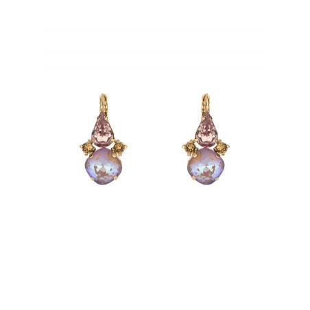 Boucles d'oreilles dormeuses baroques strass cristal | Vieux rose