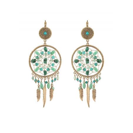 Boucles d'oreilles dormeuses bohèmes amazonite | turquoise