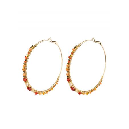 Glamorous hoop earrings for pierced ears with beads   Pearl