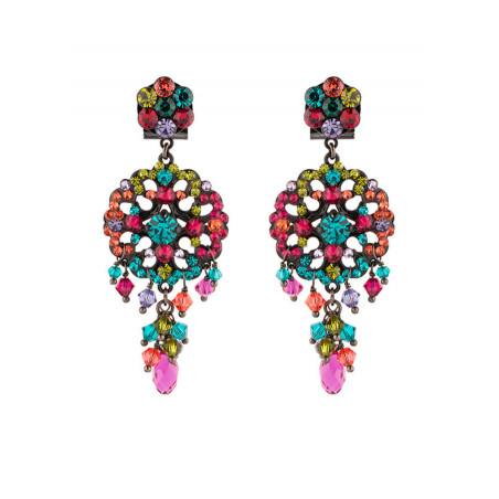 Boucles d'oreilles féminines en métal laqué et cristaux   Multicolore