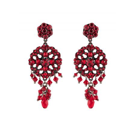 Feminine lacquered metal crystal earrings | Red