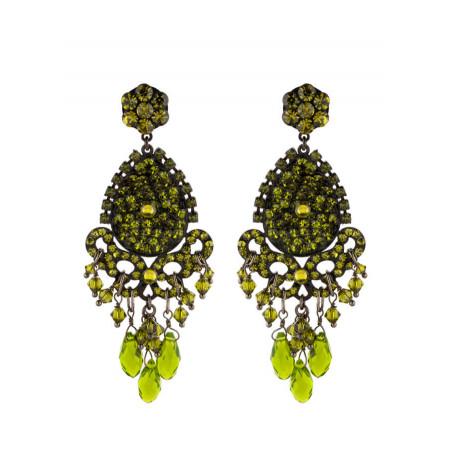 Boucles d'oreilles glamour en métal laqué et cristaux | Olivine
