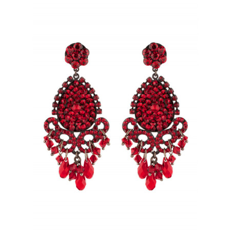 Glamorous lacquered metal crystal earrings   Red