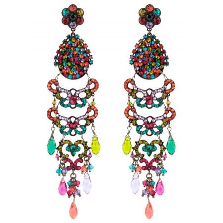 Boucles d'oreilles raffinées en métal gun et cristaux | Multicolore