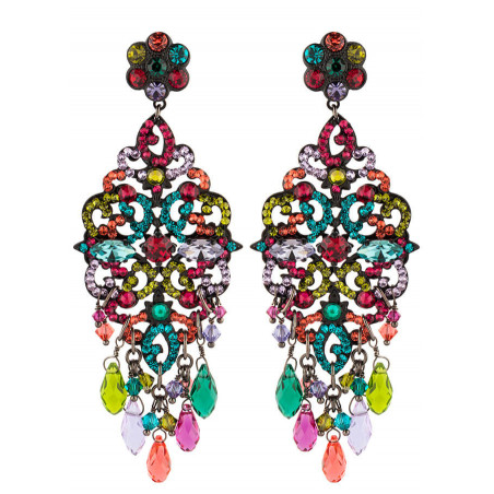 Boucles d'oreilles estivales en métal laqué et cristaux | Multicolore