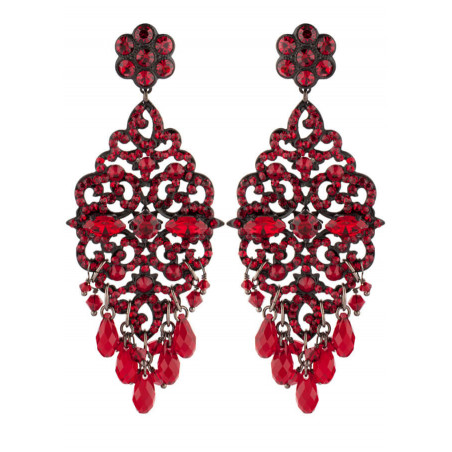 Summery lacquered metal crystal earrings | Red