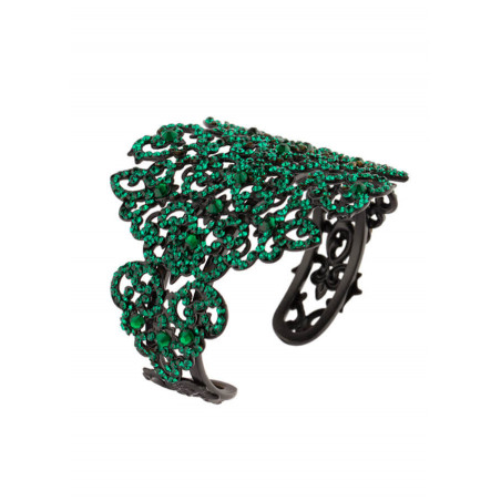 Glamorous lacquered metal crystal bangle | Emerald