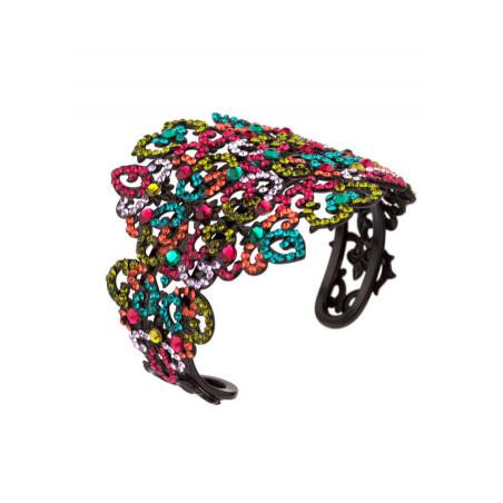 Bracelet jonc glamour en métal laqué et cristaux | Multicolore