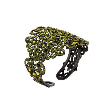 Bracelet jonc glamour en métal laqué et cristaux | Olivine