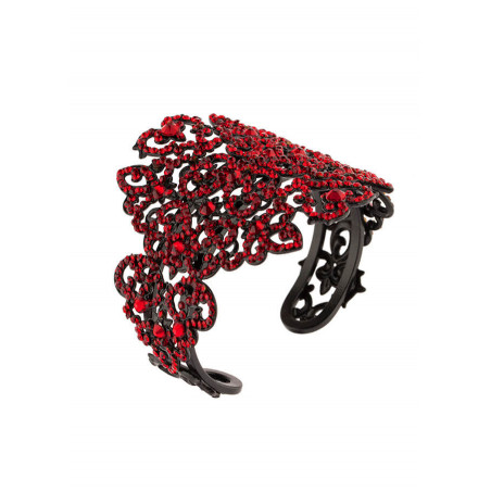 Glamorous lacquered metal crystal bangle   Red
