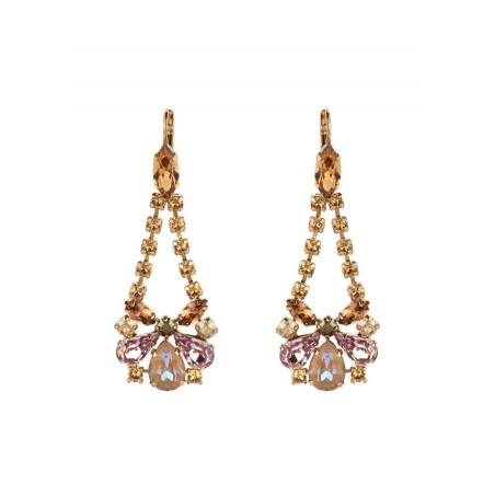 Boucles d'oreilles dormeuses poétiques strass et cristaux   Vieux rose