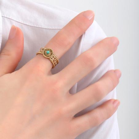 Bague ethnique ajustable turquoise et strass I jaune85082