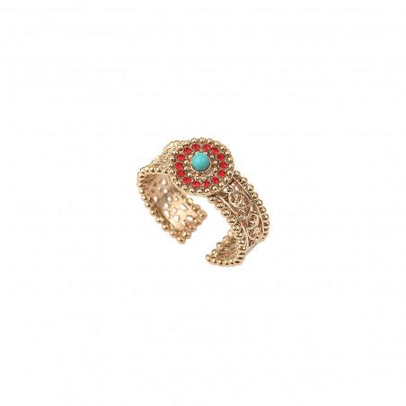 Glamorous turquoise and rhinestone adjustable ring | blue