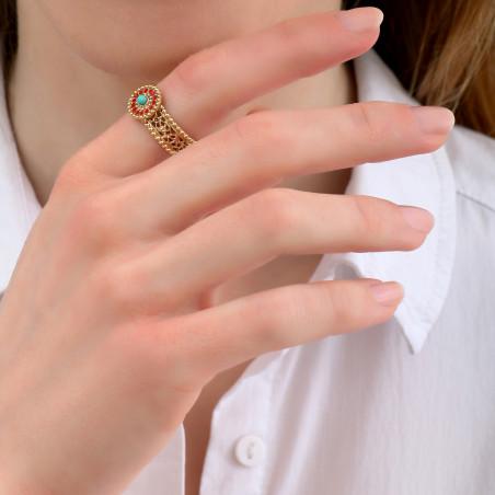Glamorous turquoise and rhinestone adjustable ring | blue 85086