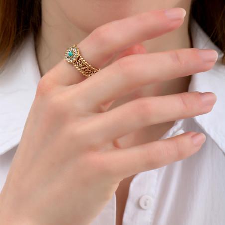 Bague ajustable sophistiquée turquoise et strass I blanc85088