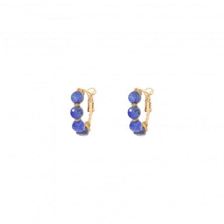 Boucles d'oreilles créoles fines percées tissées lapis-lazuli I bleu