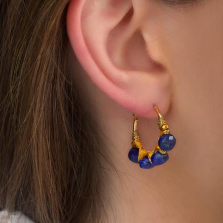 Boucles d'oreilles créoles fines percées tissées lapis-lazuli I bleu85090