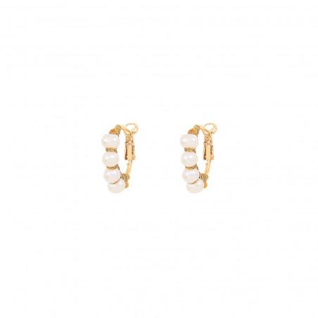 Fine woven hoop earrings for pierced ears with pearls I white