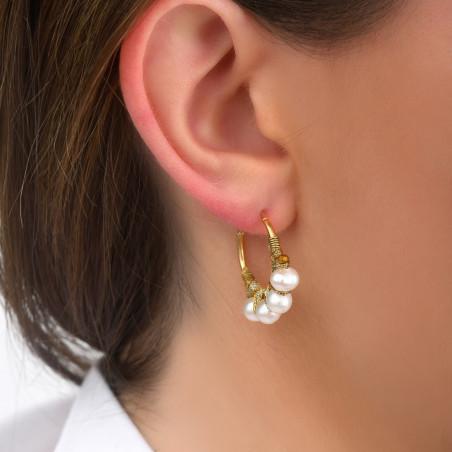 Fine woven hoop earrings for pierced ears with pearls I white85092