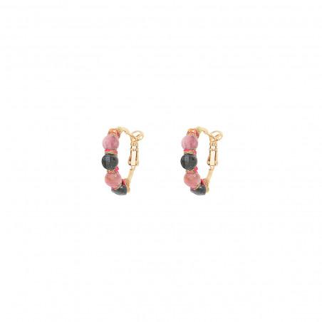 Fine woven hoop earrings for pierced ears with tourmaline I pink