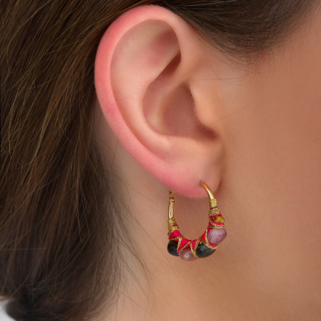 Fine woven hoop earrings for pierced ears with tourmaline I pink85094