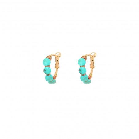 Boucles d'oreilles créoles fines percées tissées turquoise I turquoise