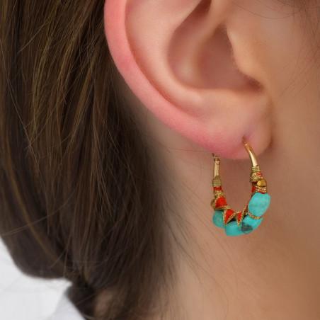 Boucles d'oreilles créoles fines percées tissées turquoise I turquoise85096