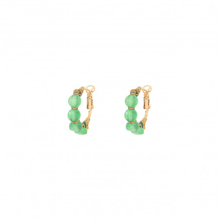 Boucles d'oreilles créoles fines percées tissées agate I vert