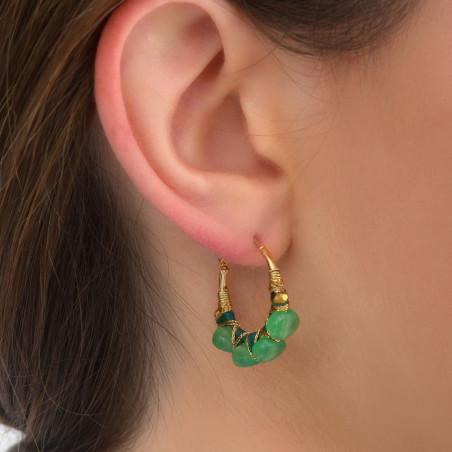Boucles d'oreilles créoles fines percées tissées agate I vert85098